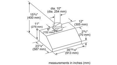 "36"" Thermador Low-Profile Wall Hood, 1000 CFM - HMWB361WS"