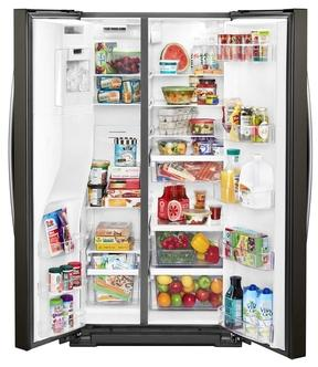 """36"""" Whirlpool 21 Cu. Ft. Wide Counter Depth Side-by-Side Refrigerator - WRS571CIHV"""