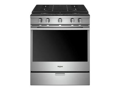 "30"" Whirlpool 5.8 Cu. Ft. Smart Contemporary Handle Slide-in Gas Range with EZ-2-Lift Hinged Cast-iron Grates - WEGA25H0HZ"