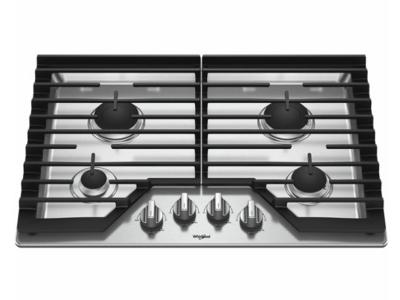 "30"" Whirlpool Gas Cooktop with EZ-2-Lift™ Hinged Cast-Iron Grates  WCG55US0HS"