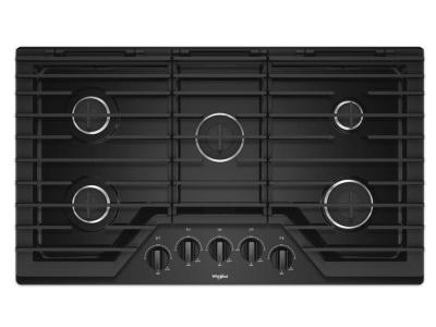 """36"""" Whirlpool Gas Cooktop With EZ-2-Lift Hinged Cast-Iron Grates - WCG55US6HB"""