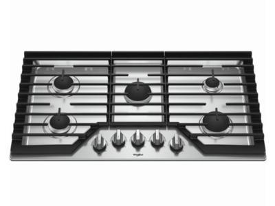 "36"" Whirlpool Gas Cooktop with EZ-2-Lift™ Hinged Cast-Iron Grates WCG55US6HS"