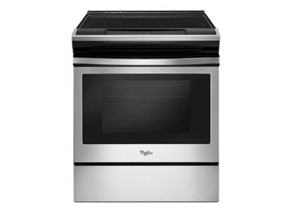 "30"" Whirlpool 4.8 cu. ft. guided Electric Front Control Range with the easy-wipe ceramic glass cooktop - YWEE510S0FS"