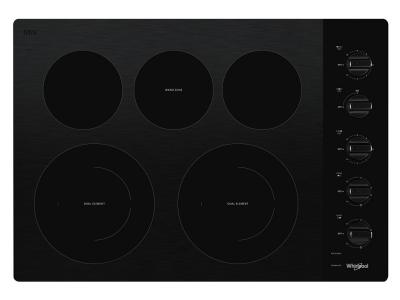 "30"" Whirlpool Electric Ceramic Glass Cooktop with Two Dual Radiant Elements - WCE77US0HB"