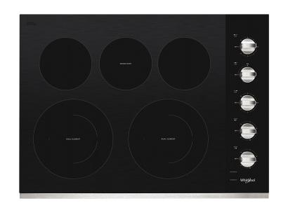 "30"" Whirlpool Electric Ceramic Glass Cooktop with Two Dual Radiant Elements - WCE77US0HS"