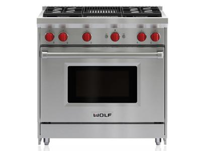 "36""  Wolf Gas Range - 4 Burners and Infrared Charbroiler  - GR364C-LP"
