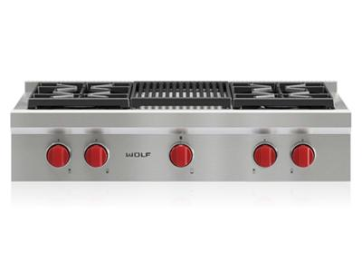 "36"" Wolf Sealed Burner Rangetop - 4 Burners and Infrared Charbroiler - SRT364C"