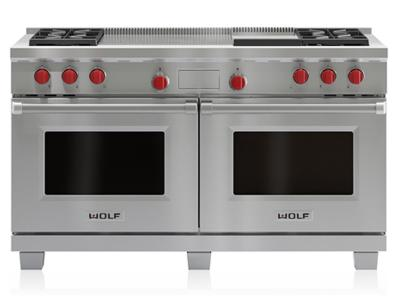 "60"" Wolf Dual Fuel Range 4 Burners, Infrared Griddle and French Top - DF604GF-LP"