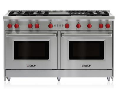 "60"" Wolf Gas Range - 6 Burners, Infrared Charbroiler and Infrared Griddle - GR606CG-LP"