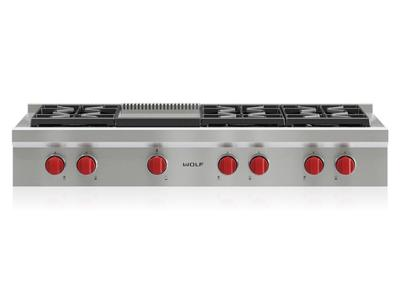 "48"" Wolf  Sealed Burner Rangetop With 6 Burners and Infrared Griddle  - SRT486G-LP"