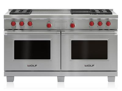 "60"" Wolf Dual Fuel Range  4 Burners, Infrared Charbroiler and French Top - DF604CF-LP"