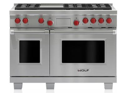 "48"" Wolf  Dual Fuel Range With 6 Burners and Infrared Griddle - DF486G-LP"