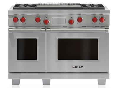 """48"""" Wolf Dual Fuel Range 4 Burners and Infrared Dual Griddle - DF484DG"""