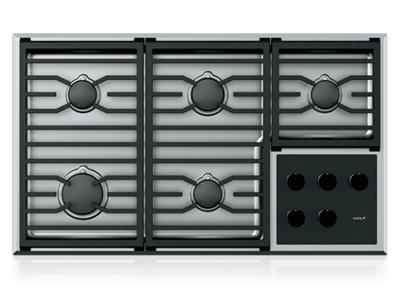 "36"" Wolf Transitional 5 Burners Gas Cooktop - CG365T/S"