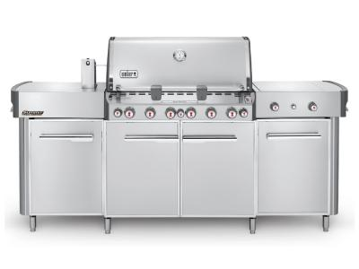 "91"" Weber Summit Series 6 Burner Liquid Propane Grill With Side Burner In Stainless Steel - Summit grill center LP (SS)"
