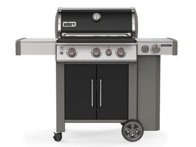 "59"" Weber Genesis II Series 3 Burner Liquid Propane Grill With Built-In Thermometer And Side Burner In Black - Genesis II E-335 LP (B)"
