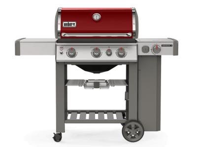 "59"" Weber Genesis II Series 3 Burner Liquid Propane Grill With Built-In Thermometer And Side Burner In Crimson - Genesis II E-330 LP (Cr)"