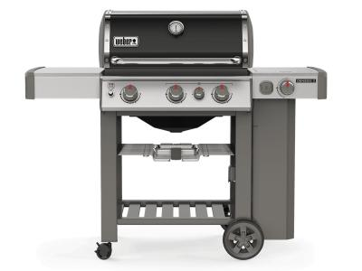 "59"" Weber Genesis II Series 3 Burner Liquid Propane Grill With Built-In Thermometer And Side Burner In Black - Genesis II E-330 LP (B)"