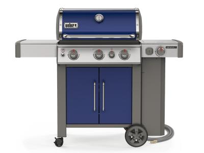 "59"" Weber Genesis II Series 3 Burner Natural Gas Grill With Built-In Thermometer And Side Burner In Deep Ocean Blue - Genesis II E-335 NG (OB)"