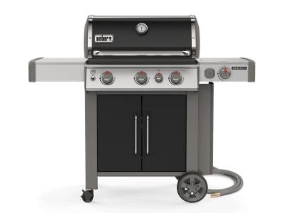 "59"" Weber Genesis II Series 3 Burner Natural Gas Grill With Built-In Thermometer And Side Burner In Black - Genesis II E-335 NG (B)"