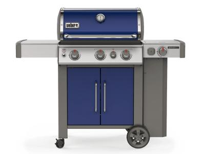 "59"" Weber Genesis II Series 3 Burner Liquid Propane Grill With Built-In Thermometer And Side Burner In Deep Ocean Blue- Genesis II E-335 LP (OB)"