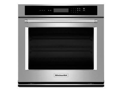 "30"" KitchenAid Single Wall Oven with Even-Heat Thermal Bake/Broil - KOST100ESS"