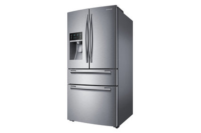 "33"" Samsung  25 cu.ft 4-Door French Door Refrigerator (Real Stainless) - RF25HMEDBSR"