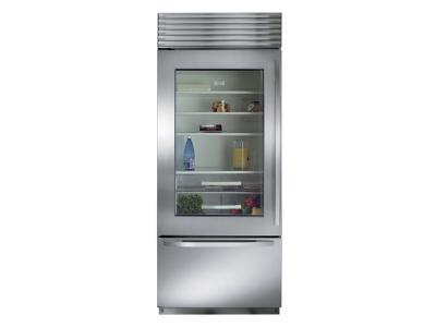 "30"" SubZero Built-In Over-and-Under Glass Door Refrigerator/Freezer - BI-30UG/S/TH-RH"