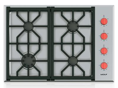 "30""  Wolf Professional Gas Cooktop With 4 Burners  - CG304P/S/LP"