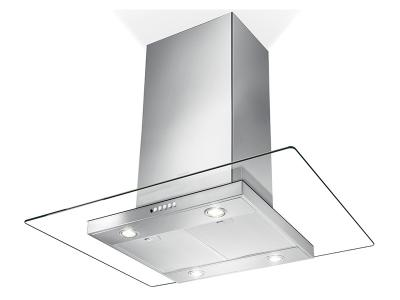 "36"" Faber Glassy Isola Island Hood with 600 CFM - GLASIS36SS600-B"