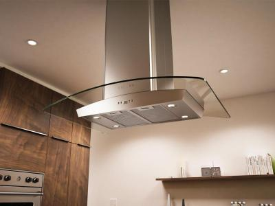 "36"" Zephyr Milano Island-Mount Chimney Range Hood with 715 CFM Internal Blower - ZMLM90BS"