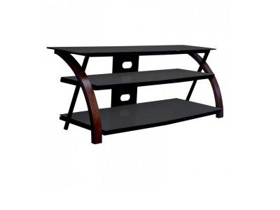 Sonora Curved Wood & Glass Tv Stand Dark Brown - S85V50B