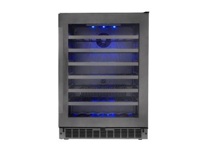 "24"" Silhouette Single Zone Wine Cellar in Black Stainless Steel  - SSWC056D1B-S"