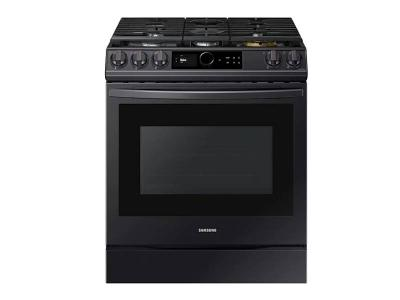 """30"""" Samsung 6.0 Cu. Ft. Gas Range With True Convection And Air Fry In Black Stainless Steel - NX60T8711SG"""
