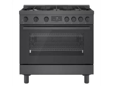 "36"" Bosch 800 Series Dual Fuel Freestanding Range With 6 Burners In Black Stainless Steel - HDS8645C"
