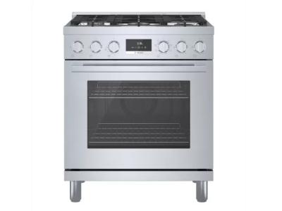 "30"" Bosch 800 Series Dual Fuel Freestanding Range In Stainless Steel - HDS8055C"