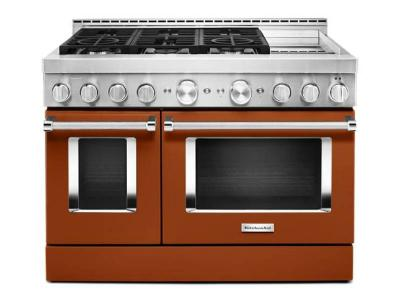 48'' KitchenAid Smart Commercial-Style Gas Range with Griddle - KFGC558JSC