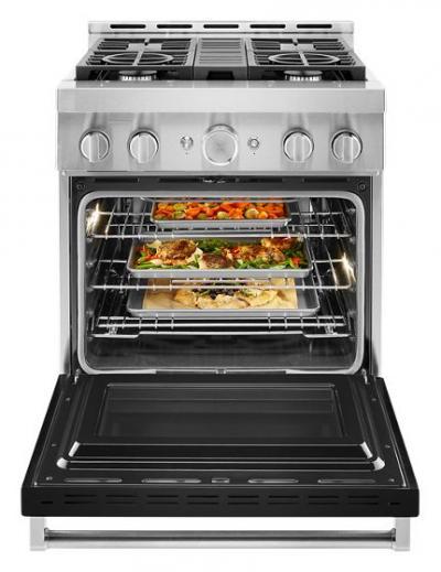 "30"" KitchenAid 4.1 Cu. Ft. Smart Commercial-Style Gas Range With 4 Burners - KFGC500JBK"