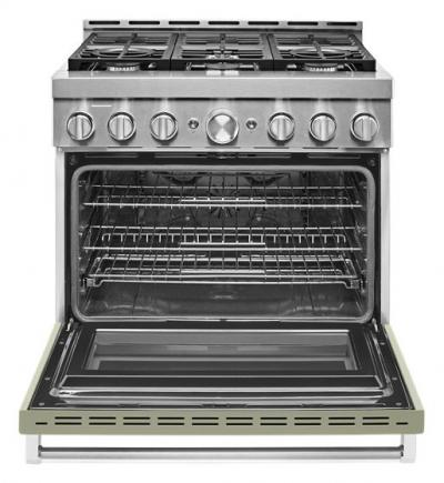 "36"" KitchenAid Smart Commercial-Style Gas Range With 6 Burners In Matte Avocado Cream - KFGC506JAV"