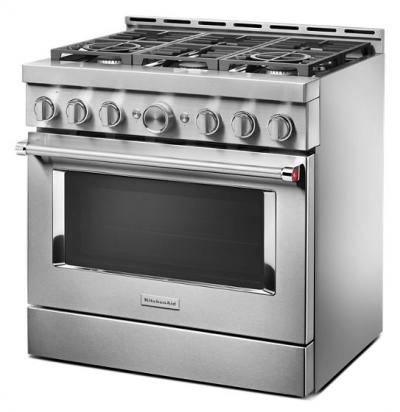 "36"" KithenAid Smart Commercial-Style Gas Range With 6 Burners - KFGC506JSS"