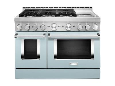 "48"" KitchenAid Misty Blue Gas Sealed Burner Range With Griddle - KFGC558JMB"