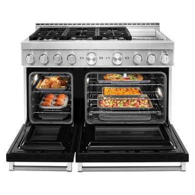"48"" KitchenAid Imperial Black Gas Sealed Burner Range With Griddle - KFGC558JBK"
