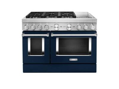 "48"" KitchenAid Smart Commercial-style Dual Fuel Range With Griddle - KFDC558JIB"