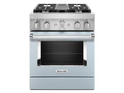 "30"" KitchenAid Smart Commercial-Style Dual Fuel Range with 4 Burners - KFDC500JMB"