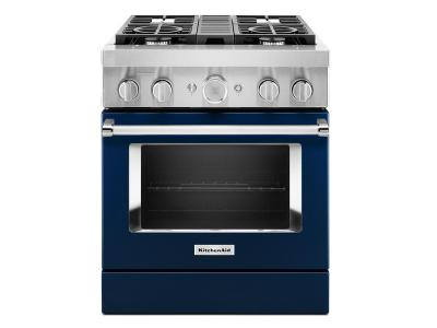 "30"" KitchenAid Smart Commercial-Style Dual Fuel Range with 4 Burners - KFDC500JIB"