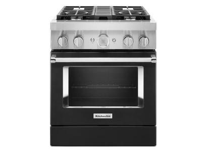 "30"" KitchenAid Smart Commercial-Style Dual Fuel Range with 4 Burners - KFDC500JBK"