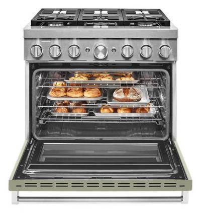 "36"" KitchenAid 5.1 Cu. Ft. Smart Commercial-Style Dual Fuel Range With 6 Burners - KFDC506JAV"