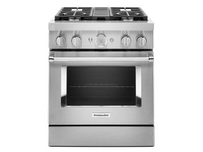 "30"" KitchenAid Smart Commercial-Style Dual Fuel Range with 4 Burners - KFDC500JSS"