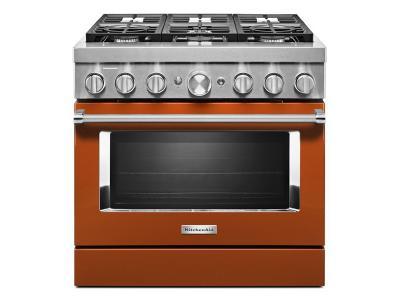 "36"" KitchenAid 5.1 Cu. Ft. Smart Commercial-Style Dual Fuel Range With 6 Burners In Scorched Orange - KFDC506JSC"