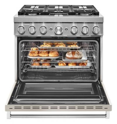 "36"" KitchenAid Smart Commercial-Style Dual Fuel Range with 6 Burners - KFDC506JMH"